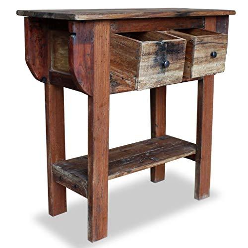 Schlafzimmer Mahagoni-beistelltisch (Festnight- Konsolentisch mit 2 Schubladen | Massivholz Vintage Beistelltisch | Retro Couchtisch Holztisch für Schlafzimmer Wohnzimmer, Altholz Massiv 80 x 35 x 80 cm)