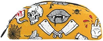 Bonipe Happy Halloween Bat Tête de mort mort mort Trousse Stylo Sac étui support Porte-monnaie Maquillage pour Trave Bureau | Durable Dans L'utilisation  420ad4