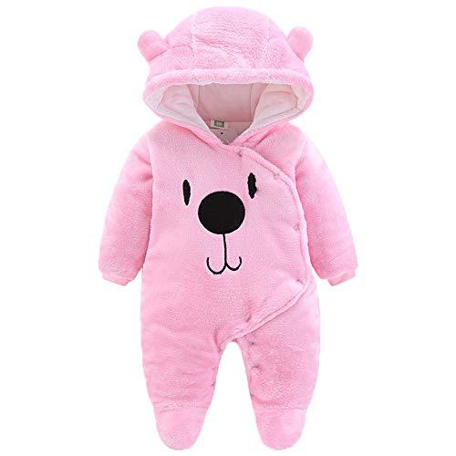 Laamei tutine pigiami invernali neonato bimbo bimba, vestiti mono tuta costume di natale per natalizio a maniche lunghe per bambini, 0–12mesi m(largo 55cm) rosa chiaro
