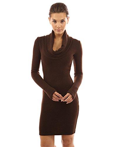 PattyBoutik Damen Langärmliches gestricktes Kleid mit Schalrollkragen (braun 40/M)