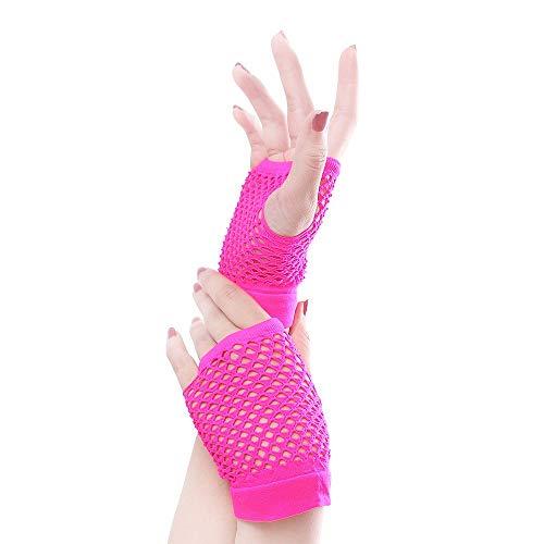Paare Kostüm Verschiedene - Dehnbare fingerlose Neon-Netzhandschuhe (10 Paare) für Partys, Kostüme - Verschiedene Farben (Color : Rose red)