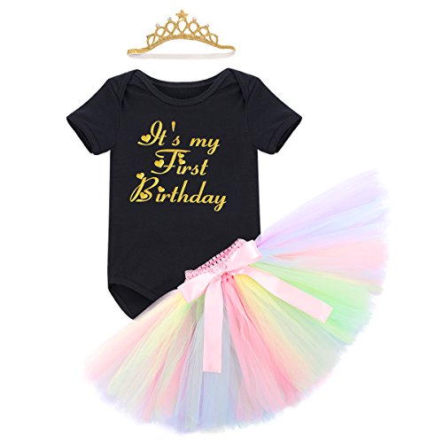 Link Kostüm Smash - Baby Mädchen Einhorn Geburtstag Kostüm Kleinkinder 1. Geburtstag Outfit Neugeborenen Prinzessin Strampler Body Regenbogen Tütü Rock Einhorn Stirnband 3tlg Bekleidungssets für Fotografie 12-18M