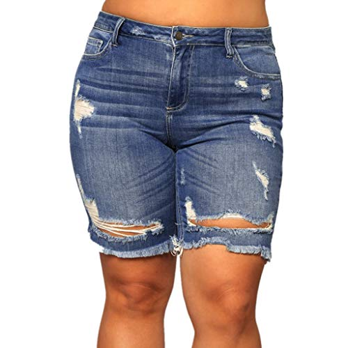 NPRADLA Damen Capri Breathable Sommer Kurze Jeans Skinny Hipster Lässige Ripped Hollow Denim Pockets Cowboy Pants Damen Hot Shorts(XL,Blau-1) - Button Fly Denim Bib
