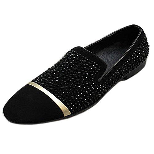 Noir Hommes Chaussures Antidérapant sur Mocassins. En Cuir Bout Rond Strass Rivets Chaussures Noir/doré