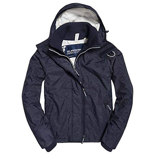 Superdry Herren Sportjacke Arctic Hooded Pop Zip Windchea, Blau (New Navy Marl/Ecru Un4), Medium