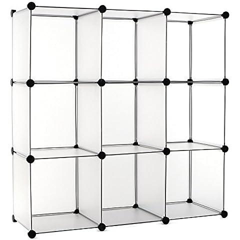 Songmics Armario modular Plástico PP Estantería organizadora para ropa 9 cubos 96 x 96 x 31,5 cm