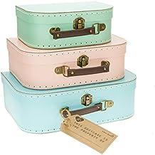 Set de 3 cajas con diseño de maleta vintage en colores pastel: verde, rosa