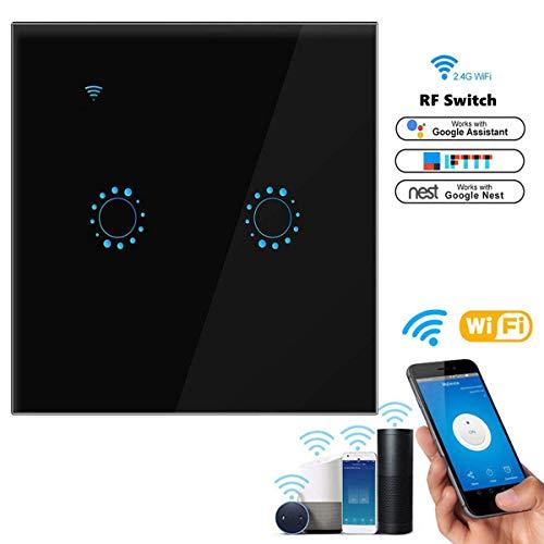 Alexa Lichtschalter, Orville Wlan Lichtschalter Touch Lichtschalter Kompatibel mit Alexa [Echo, Echo Dot] und Google Home Glas Touchscreen Touch Panel, Sprachsteuerung, Zeitfunktion, berlastschutz