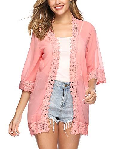 Hawiton Damen Chiffon Floral Kimono - Leicht Sommer Cardigan Boho Strand Kimono Florale Tops Chiffon Shawl Bluse Beachwear Bikini Cover up, Rosa, XXL -