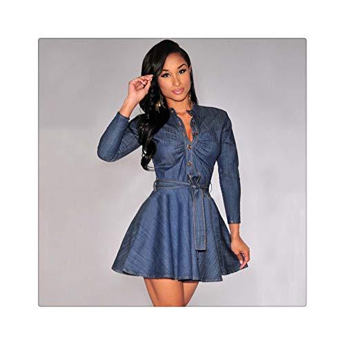 Women's Fashion Denim Denim v-Neck Miniskirt Long Sleeve Belt Design Highlights The Waist as The Photo Show S