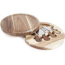 Natural Life queso herramienta Set con tabla de cortar, madera, marrón, 4piezas