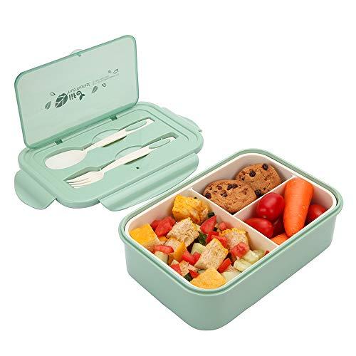 1000 ml Brotdose aus Kunststoff für Kinder Und Erwachsene, Bento Box Lunchbox mit 3 Fächern und Besteck, Vesperdose Mikrowelle Heizung (Grün)