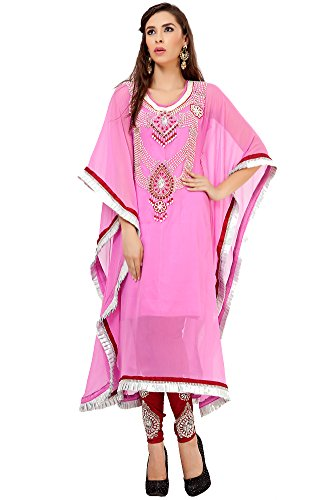 palasfashion Kameez Designer Kaftan Kleid Damen kkpf1035 Gr. 34, rose (Kameez Krepp Salwar)