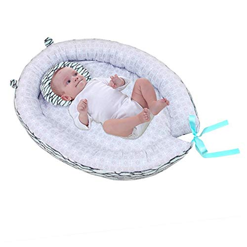 TWOBEE Tragbare Baby Nest Bett Baumwolle Wiege Einhorn Print Baby Stubenwagen Folding Sleeper Für Neugeborene Reisebett (Color : Green) (Bewegen Lebensechte Baby-puppen)