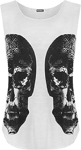 WearAll - Débardeur à dos nageur avec imprimé des crânes - Hauts - Femmes - Blanc - 40-42