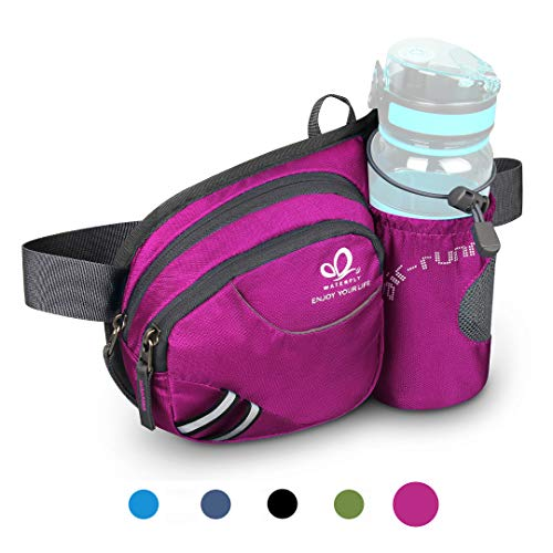 93a6cc06bde6 Waterfly Waist Fanny Pack, Waist Pack with Bottle Holder Water Repellent  Bum Bag Dog Walking Waist Bag (Pink)