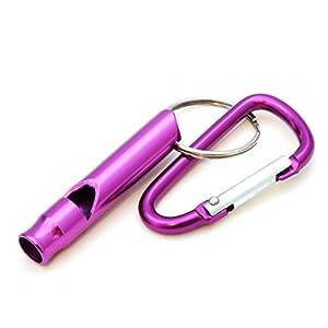 compacte pour dressage de chien/Sifflet d'entraînement avec mousqueton, sifflet de survie pour extérieur/Survival, Couleur?: Violet-Ganzoo comme porte-clés