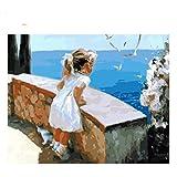 GKJRKGVF La Ragazza Guarda Il Disegno del Mare con i Numeri Fai da Te Pittura su Gatto Lavoro Manuale su Tela Pittura a Olio Wall Art Coloring Home Decor
