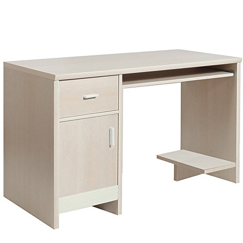 Affordable Furniture To Go Fanfair 1-Door 1-Drawer Desk with Melamine, 126 x 76 x 60 cm, Cream Special