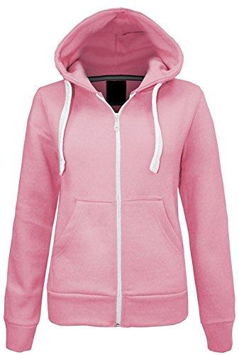 adies Girls Plain Hoodie Sweatshirt Fleece gefütterte Jacke EUR Größe 36-50 (EUR 38 (UK 10), Baby Pink) ()