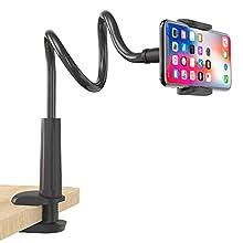 FAPPEN Supporto Telefono, Collo Oca Supporto Regolabile : Universale Stand per Phone 11 Pro XS Max XR X 8 7 6 6s Plus, Huawei, Samsung S10 S9 S7 S8, Google Pixel e Dispositivo da 4-6,5 Pollici-Nero