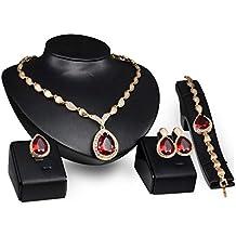 7ae4f672b292 PIXNOR Mujeres Oro Plateado Collar Pulsera Anillo Pendientes Conjunto Boda  Joyería 4pcs