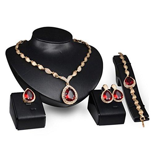 PIXNOR Wasser Tropfen Schmuck Set Halskette Armband Ring (Hochzeiten Für Kostüm Schmuck)