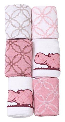 ToTs by Smartrike 150-202 6 pp Joy Mullwindeln, 100 prozent Baumwolle, 60 x 60 cm, pink/weiß