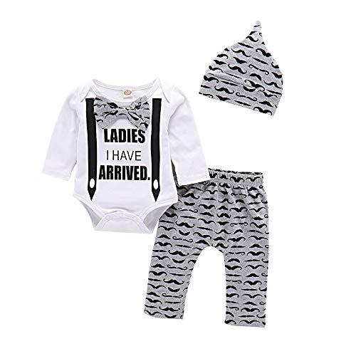 Sfuzwg Infant Baby Boys Brief Kleidung Set Jungen Outfits Baby Bart gedruckt Strampler + Pants + Hat -