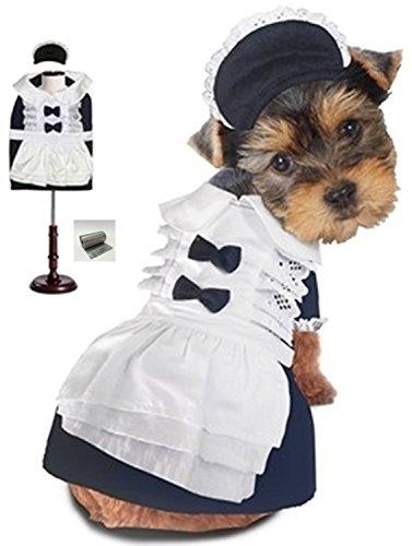 Hunde Butler Kostüm - Puppe Love Rüschen French Maid Uniform Kostüm mit Haupe Mütze und Taschen Set-Marine/Weiß-für Hunde-Größen XS durch L, S - Chest 12-14