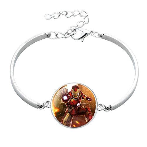 Onlyfo Glas-Armband mit Eiser-Man-Muster, Cabochon, mit Schmuckbox, für Jungen und Mädchen, Rot -
