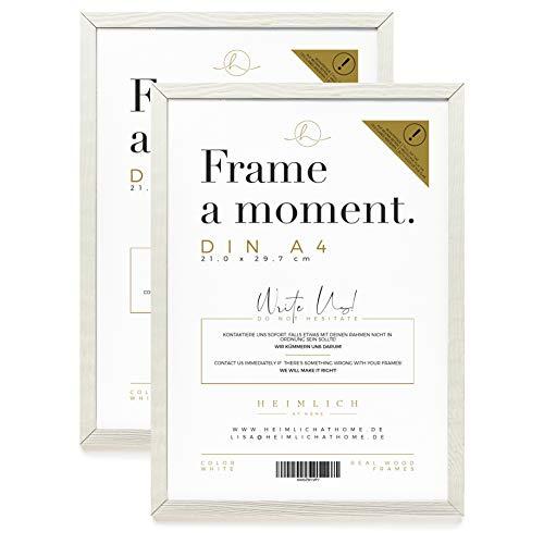 Heimlich® DIN A4 Rahmen Doppelpack (2 STK.) » WEIß « Holz Bilder-Rahmen mit Plexi-Glas