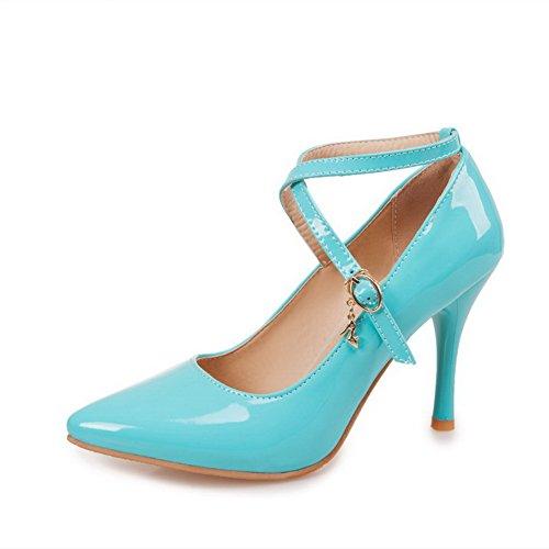 AgooLar Femme Verni Boucle Pointu à Talon Haut Couleur Unie Chaussures Légeres Bleu