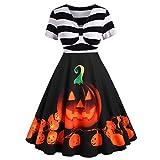 NPRADLA 2019 Kleider Elegant Kostüm Retro Damen Frauen Fledermaus Ärmellos Cocktailkleid Knielang Rockabilly Kleid Bedruckte Vintage Abend Party