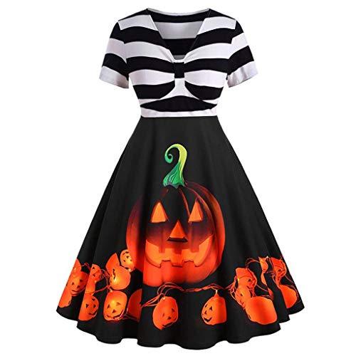 DaySing Robe Costume d'halloween pour Femme, TrapèZe ImpriméE à Manches Longues pour FemmesFestive Dress Up Pumpkin Light Ghost Pattern Print Autumn Winter Nouveaux Produits