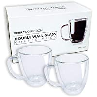 Double Wall Glass Espresso Latte Cappuccino Nespresso Dolce Gusto Mug, Coffee Cup   Set of 2