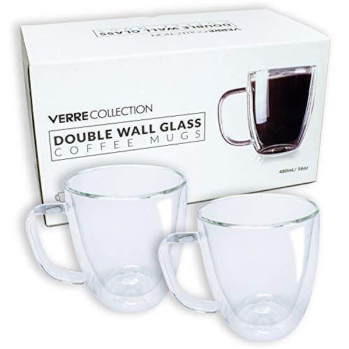 Boîte de 2 mugs en verre à double paroi, Verre borosilicate, 16.0 oz