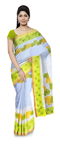 Poushali Boutique Traditional Bengali Handloom Cotton Women's Saree (Yellow & White)