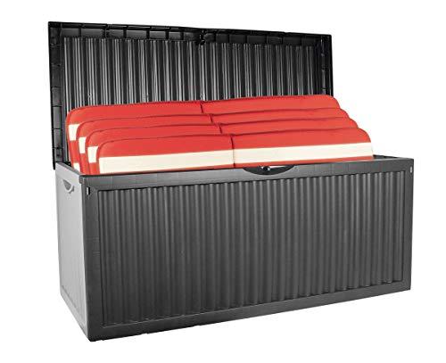 Auflagenbox mit Rollen 350L Gartenbox Gartentruhe Auflagen Kissenbox Gartentruhe