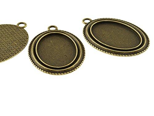 2 ovale Fassungen für 30 x 20 mm Cabochons in antik Bronze von Vintageparts, DIY-Schmuck