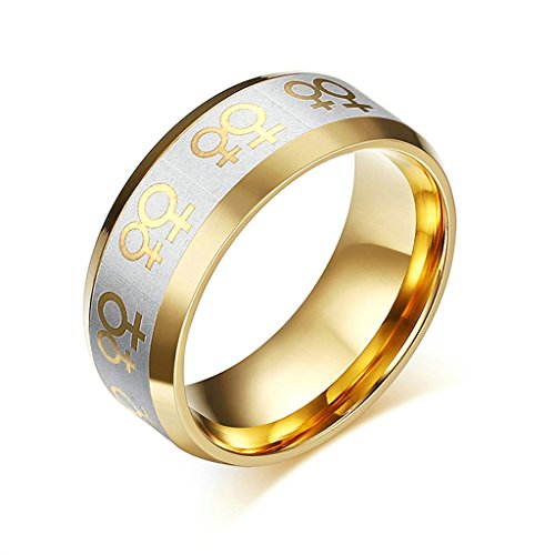 Daesar Joyería Anillo Acero Sex Symbol LGBT Ring for Gay Lesbian Alianzas Size 27