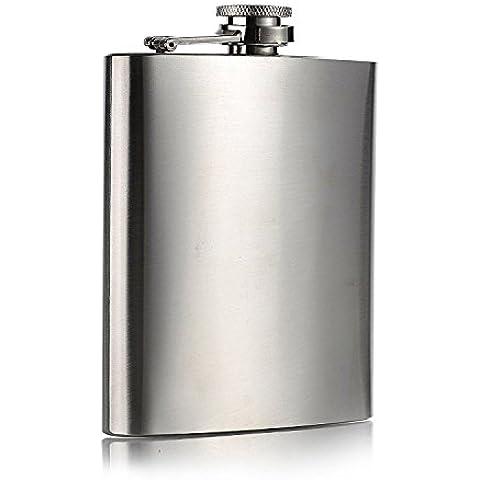 Shine Fiaschetta in acciaio inox 7oz per riporre Whisky/alcool (colore: argento)
