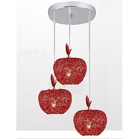 ZHY Tessuti lampadario in alluminio di apparecchi di illuminazione da soffitto pendente illumina illumina Ciondolo con tre lampada testa Ristorante Apple , bianco caldo