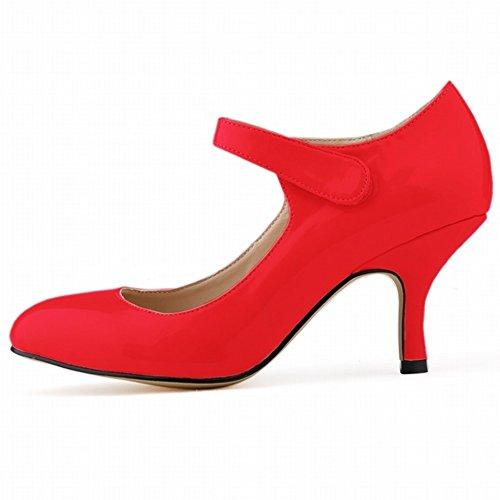 HooH Femmes Bonbons Couleur Velcro Kitten De Travail Escarpins Rouge