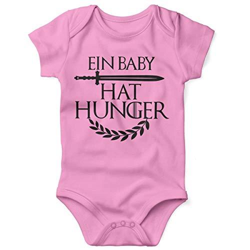 Mikalino Babybody mit Spruch für Jungen Mädchen Unisex Kurzarm EIN Baby hat Hunger | handbedruckt in Deutschland | Handmade with Love, Farbe:rosa, Grösse:62