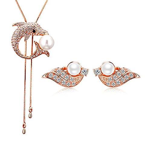 JiangXin Dolphin & Phoenix perle autrichienne strass ensemble de bijoux Fait avec collier pendentif Clip L'Autriche de Cristal Boucles d'oreilles pour les femmes