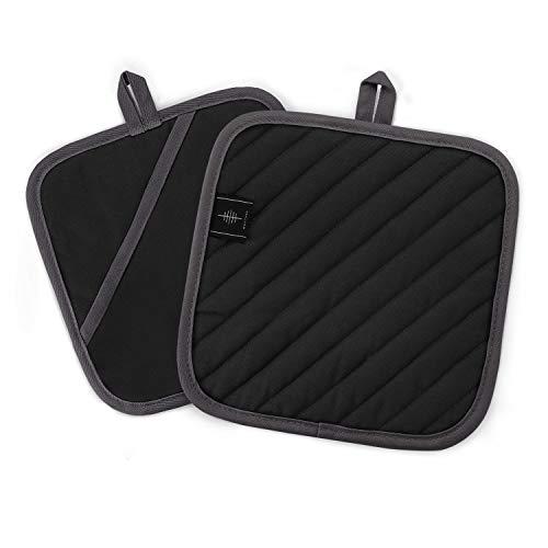 BONTHEE 20CM Topflappen Waschbare Schutzlappen zum Kochen Backen Küchenzubehör - Schwarz - Topflappen