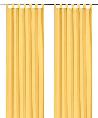 Fashion-and-joy - tende opache con passanti e fiocchi decorativi, diversi colori e misure, in microfibra a x b: 245 x 140 cm giallo