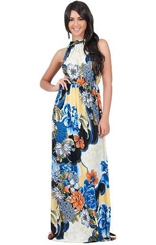 KOH KOH® Damen Petite Ärmelloses Halter Maxikleid Blumen Print Dress, Farbe Kobalt / Royalblau, Größe XS / Extra Small (Mutter Der Braut Formal Wear)