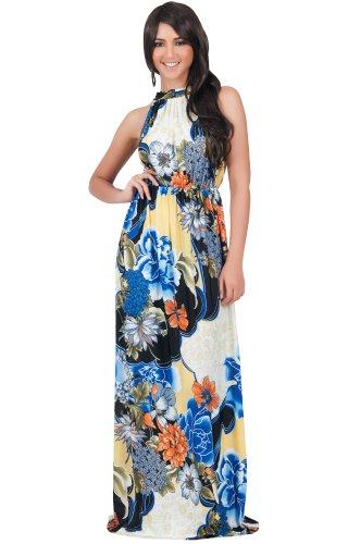 KOH KOH® Damen Petite Ärmelloses Halter Maxikleid Blumen Print Dress, Farbe Kobalt / Royalblau, Größe S / Small (1) (S Themen Kostüme Für Paare)